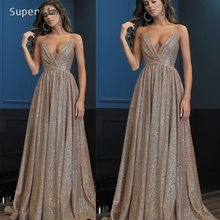 SuperKimJo Luxury Beaded Prom Dresses 2019 Silver Crystals Sequin A Line Arabic Fashion Gown Vestidos De Gala