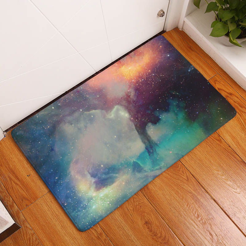 Nebula Printing Flannel Carpet Cloud Pattern Mat For
