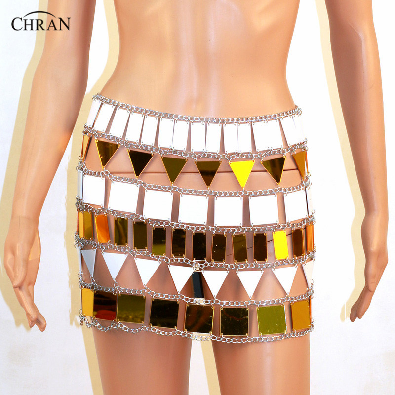 все цены на Chran Perspex Crop Top Chain Mini Skirt EDC Outfit Harness Necklace Body Lingerie Metallic chain Belly Dress Jewelry CRM807