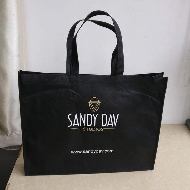 2107954864 wholesale 500pcs lot custom printed logo fabric non woven shopping bags  reusable foldable grocery tote