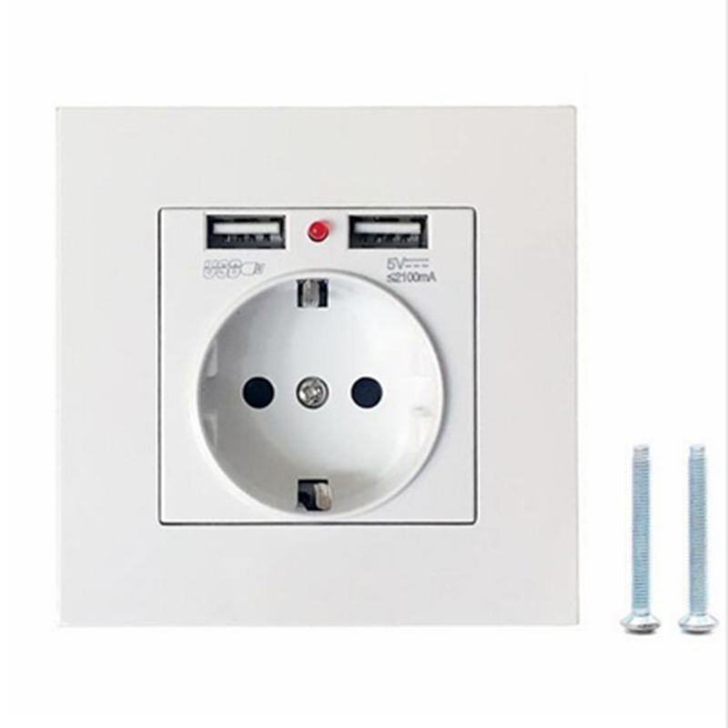Germany France Wall Power Socket 16A 110-250V EU Standard Outlet With 2A Dual USB Charger Port for Mobile Phone WALL Socket 86mm universal 2 power socket wall mount plate w dual usb white 90 250v