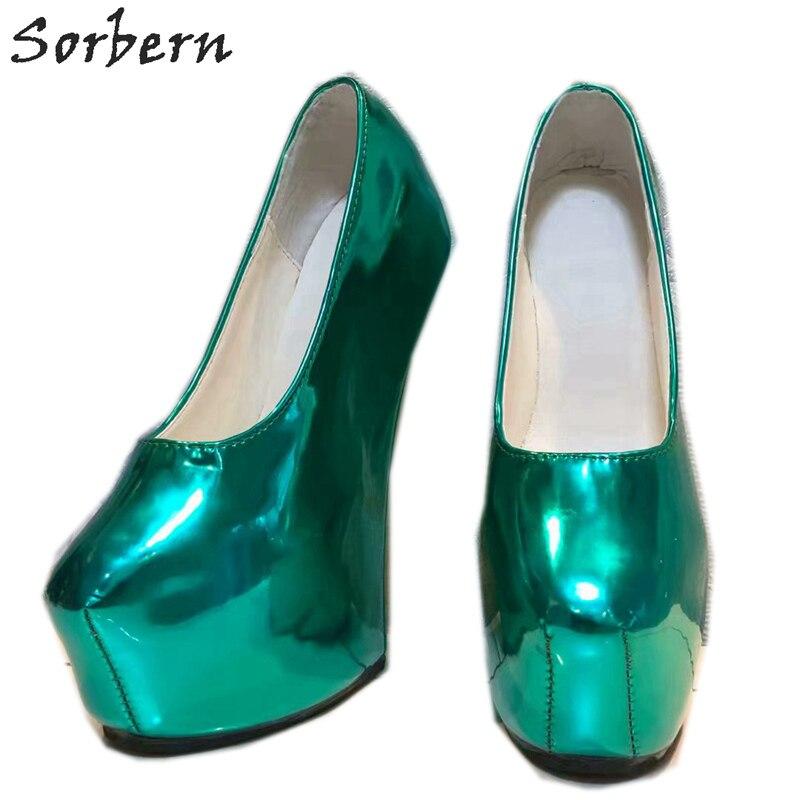 Sorbern Non talons femmes pompes chaussures plate forme sans lacet vert profond dames parti pompes en cuir verni T talons hauts pour boîte de nuit - 4