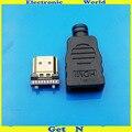HDMI штекер с пластиковой оболочкой  золотая пластина  19Pin разъем  провод  припой  DIY Коннекторы