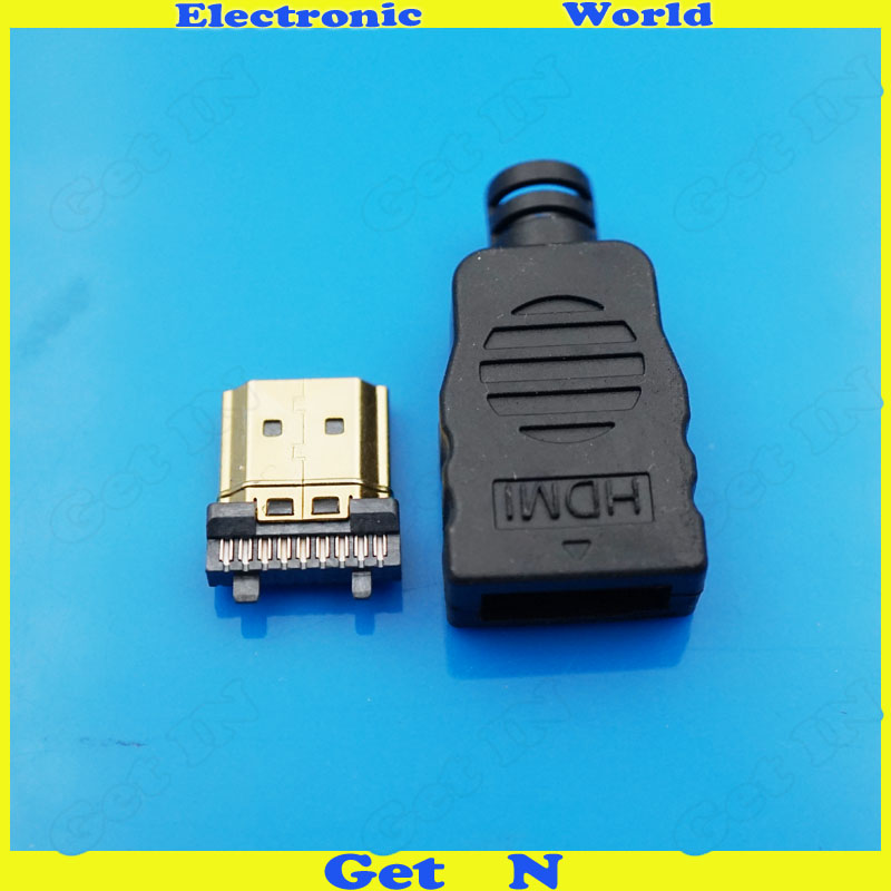 HDMI Male with Plastic Shell Gold Plate 19Pin Plug Wire Solder DIY Connectors in Connectors from Lights Lighting