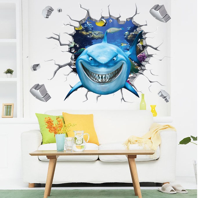 Cartoon Shark 3D Wall Sticker Cracked Wall Shark Wall Decals For Living  Room Bedroom DIY Creative Home Decor Wallpaper Poster In Wall Stickers From  Home ...