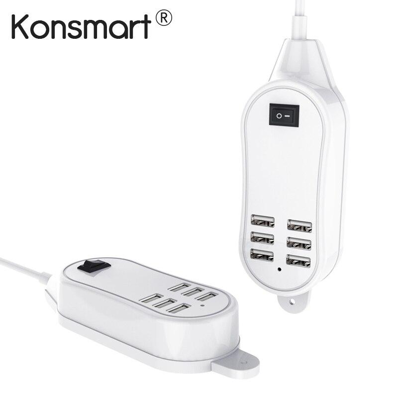Konsmart 6-Port USB cargador de escritorio para iPhone 6/7/8/X adaptador para Samsung s7/S8/S9 Huawei Xiaomi teléfono móvil iPad Tablet