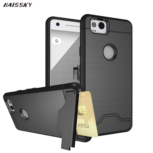 save off 64a3c f9fd2 US $3.29 25% OFF|HAISSKY For Google Pixel 2 XL 2XL Card Case Armor PC &  Silicone TPU Wallet Hybrid For Google Pixel 2 Cover 360 full Protection-in  ...
