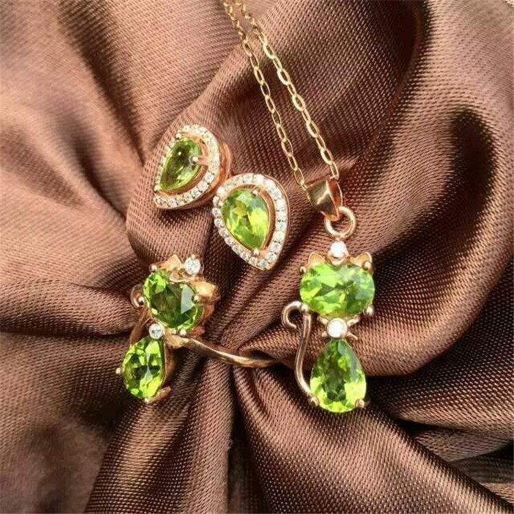 Natural Peridot Ring Necklace Pendant Earrings Set inlaid jewelry wholesale S925 Silver Sterling Silver