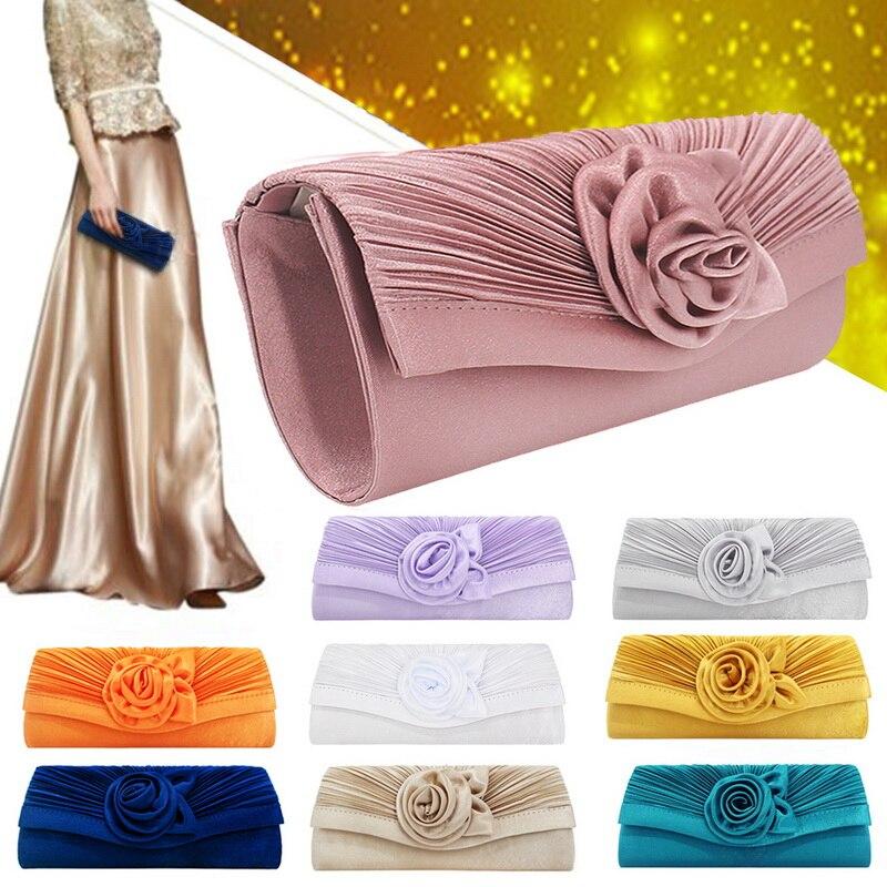 Women's Clutch Bag Shoulder Strap Handbag Fashion Satin Flower Decoration Clutch Bag Solid Color Evening Party Clutch Bag(China)
