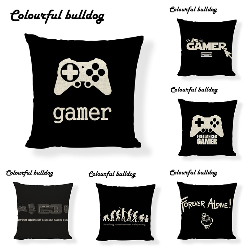 Famous Brand Theory Of Evolution Forever Alone Cushion Cover Vintage Gamer Joystick Throw Pillow Cases Office Large Cotton Linen