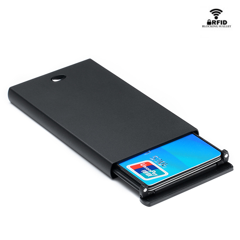 BYCOBECY Wallet RFID Protector Credit-Card-Holder Small Purse Black Fashion Pop-Up Anti-Aluminum-Box