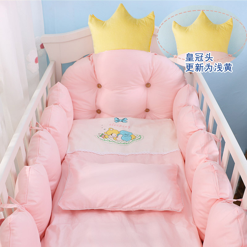 100% Cotton Crib Bed Linen Kit,Crown Design Baby Crib Bedding Set,Baby Bedding Set Includes Bumpers+Pillow+Quilt+Mattress Cover