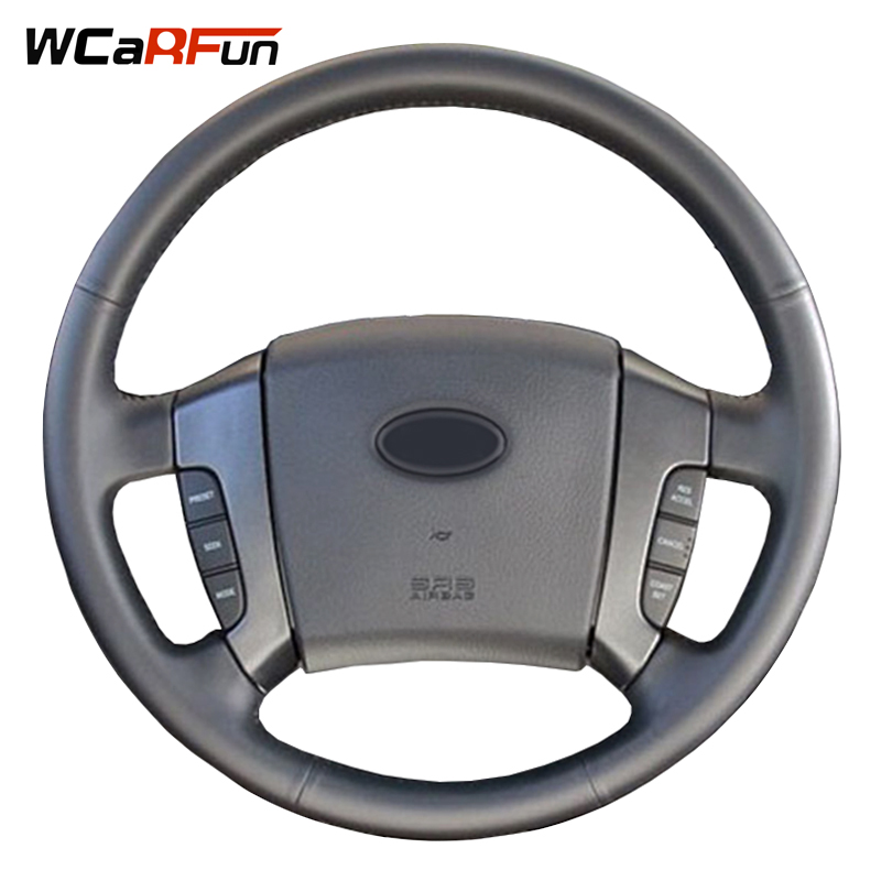 WCaRFun Hand-Stitched Car Steering Cover Black Artificial Leather Car Steering Wheel Cover for Old Kia Sorento 2004-2008