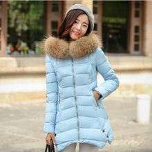 NEW Fashion 2016 Winter jacket Women Long Style Parkas Natural Raccoon Fur Collar Coat Slim Casual Winter Coat Women Warm Parka
