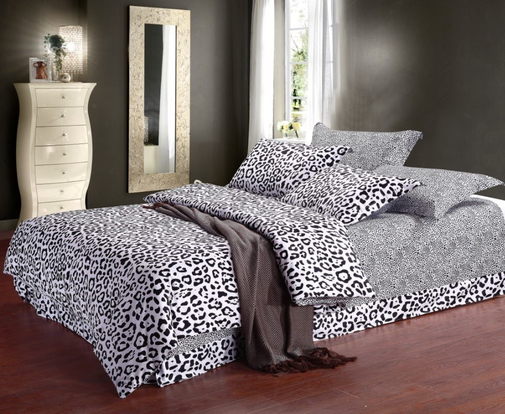 Bed sheet set black and white - Aliexpress Com Buy Fashion Black And White Leopard Printed Cotton Bedding Sets Quilt Cover Bed Sheet Set 4pcs Bed In A Bag No Comforter From Reliable