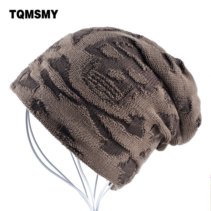 Knitted Skull Hat Pattern : Casual bonnet Skull pattern hat for men beanies Knitted wool plus velvet bone...