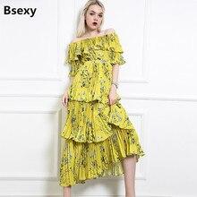 Summer Yellow Boho Dress 2018 Floral Print Pleated Women Chiffon Dress Off Shoulder Ruffle Long Gown Bohemian Beach Dress