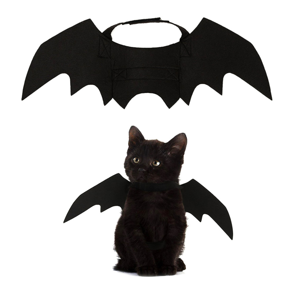Creative Bat Wings For Cat Halloween Kitten Costume Black Cat Accessories Bat Wings Decor Funny Joke Harnesses Festival Supplies