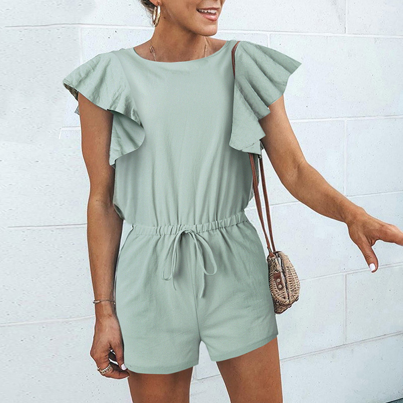 Women Summer Short Jumpsuit Boho Solid Ruffles Sleeves Elastic Waist Slim   Rompers   2019 New Fashion Summer Casual Playsuit   Romper