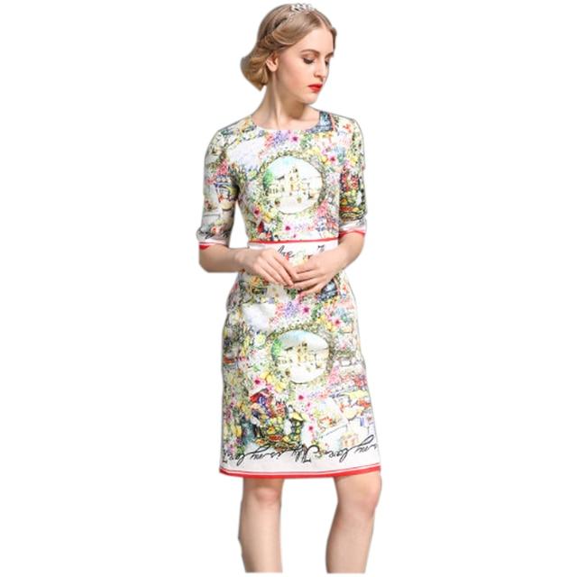Classic Design Women Top Fashion Summer Colorful Flower Printed Runway Slim Straight Dress Jacquard Cotton Vintage Dresses