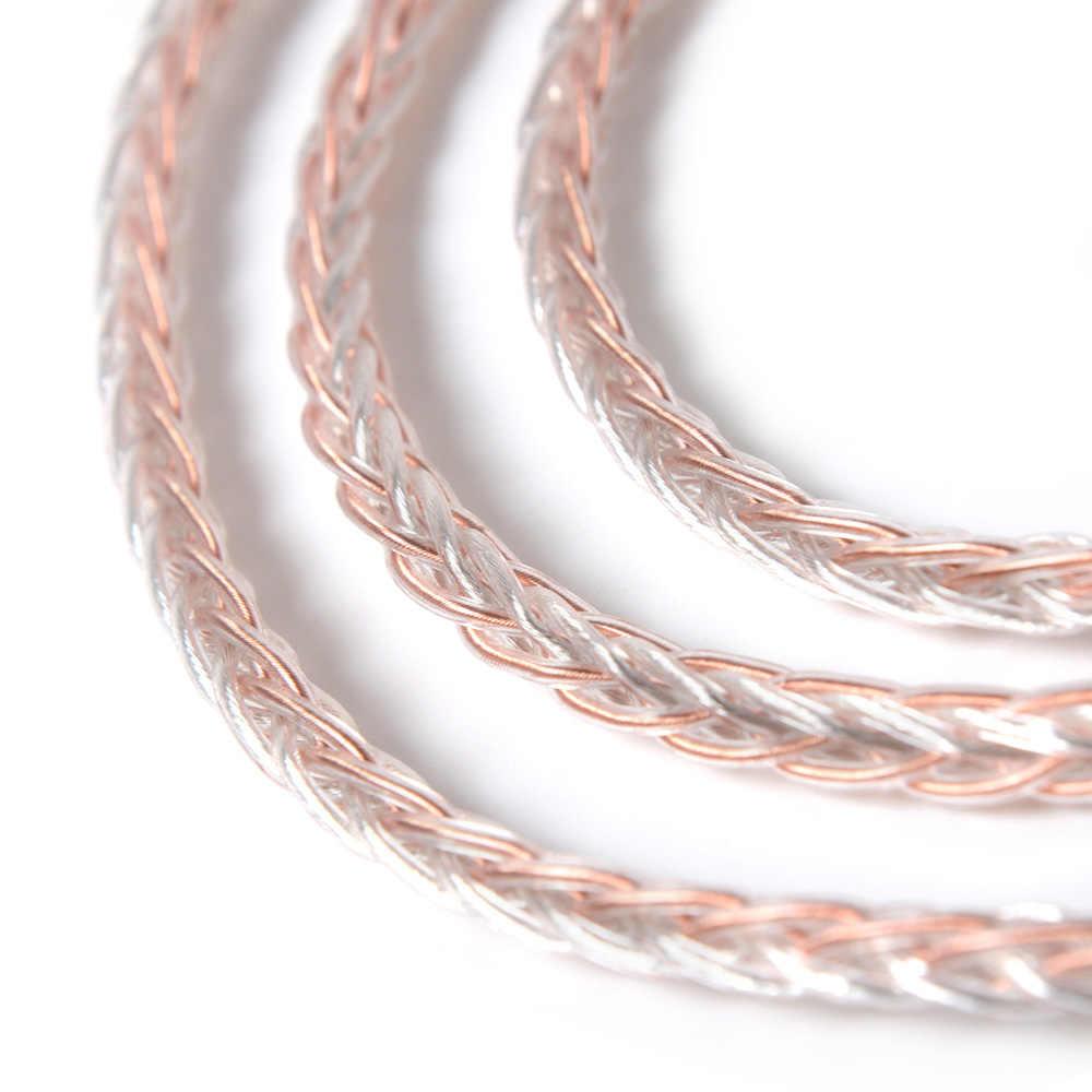 NICEHCK MMCX/2Pin złącze 3.5/2.5/4.4mm wyważone 8 rdzeń miedzi srebrny mieszane kabel do ZS10 AS10 BA10 AS06 NICEHCK M6 N3 NK10