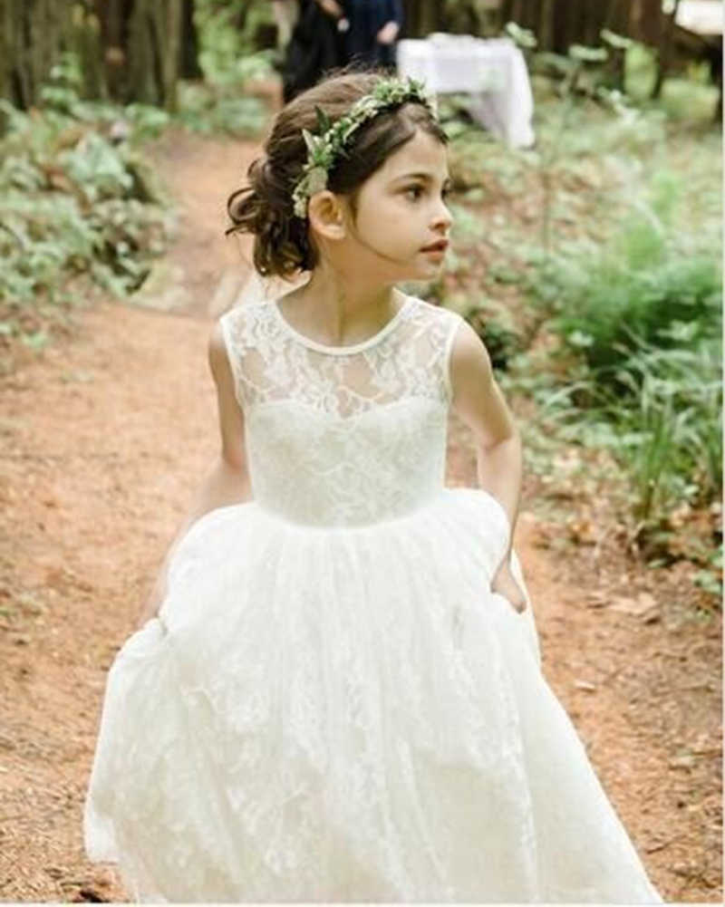 ce184e6166e Detail Feedback Questions about 2019 Lace Flower Girl Dresses White Ivory O  Neck Holy First Communion Dress Little Girls Kids Children Dress for  Wedding on ...