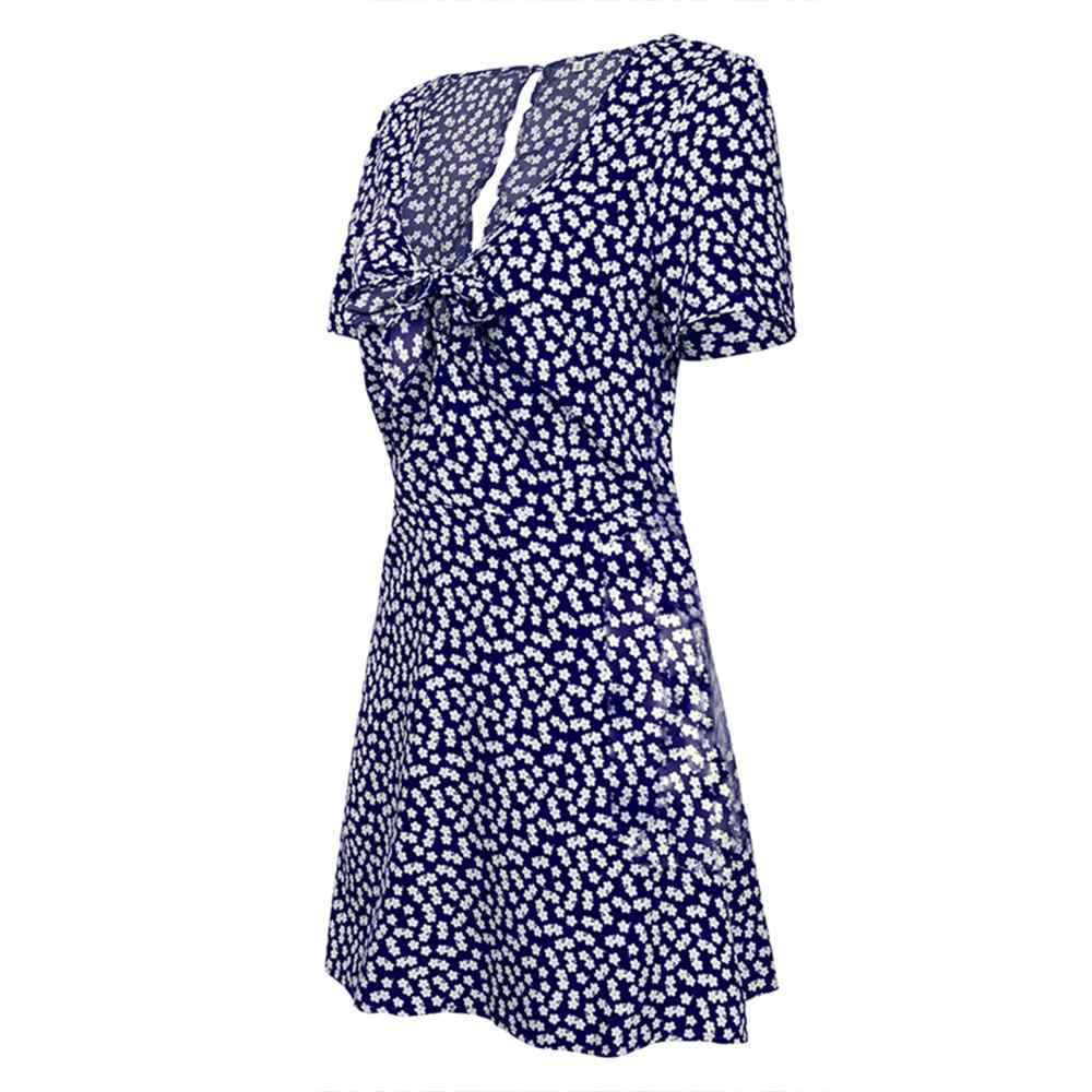 Летнее шифоновое платье пляж в стиле бохо платье модные короткий рукав платья для женщин с v-образным вырезом в горошек трапециевидные вечерние платья Открытое платье без рукавов Vestidos