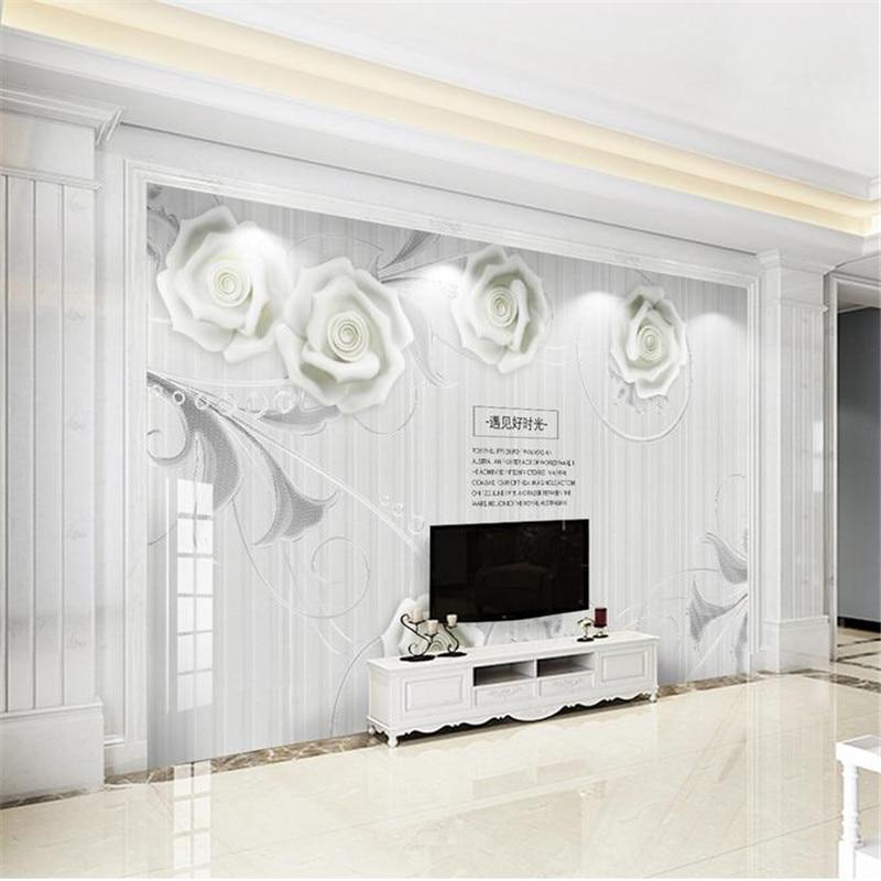 modern custom 3d HD minimalist wallpaper living room bedroom TV background wall mural nordic white rose simple fashion wallpaper