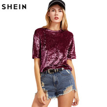 SHEIN Casual Women T shirt Summer 2017 Ladies Tops Burgundy Round Neck Short Sleeve Crushed Velvet T-shirt C3001