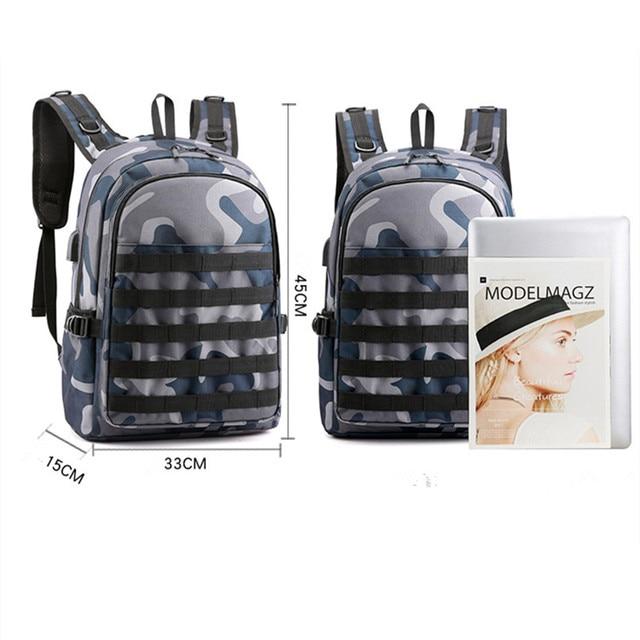 PUBG Backpack For Gamer Intelligent Boys With USB Headphone Jack Port
