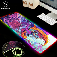 800x300 Large Mouse Pad Gamer USB LED RGB Lighting Gaming Computer Mousepad XL Rubber Mouse Mat cs go Hyper Beast for PC Laptop