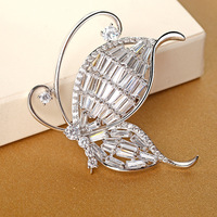 High end jewelry brooch micro inlaid zircon butterfly brooch pin ladies clothes accessories