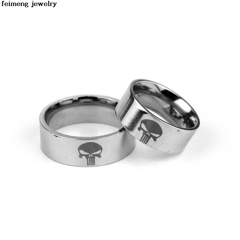 COOL Marvel Comics One Piece The Punisher Ring Skull Logo Stainless Steel Jewelry Movie Rings Gift For Friends Family Wholesale