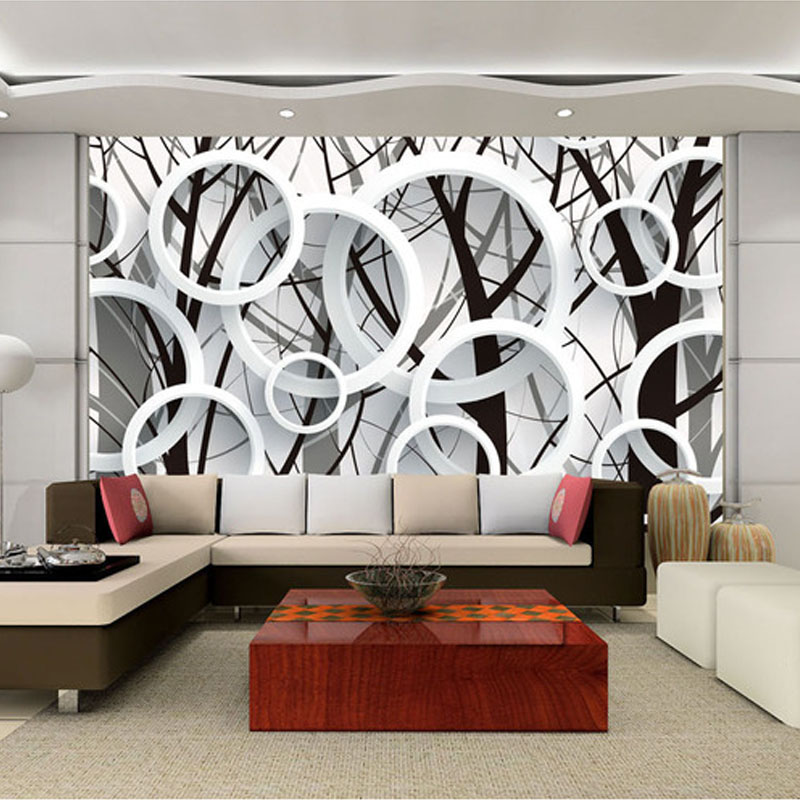 Custom Photo Wallpaper 3D Stereoscopic Abstract Circles Tree Living Room Sofa TV Backdrop Wallpaper Murales Papel De Parede 3D