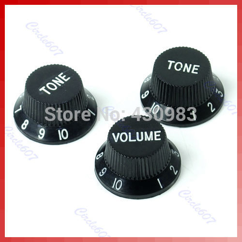 10sets lot Black Guitars Strat Knob 1 Volume 2 Tone Control Knobs for Stratocaster