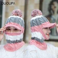 Осенняя и зимняя новая Плюшевая и Толстая Женская шерстяная Кепка бейсбольная кепка для улицы с теплой трикотажной шапочкой