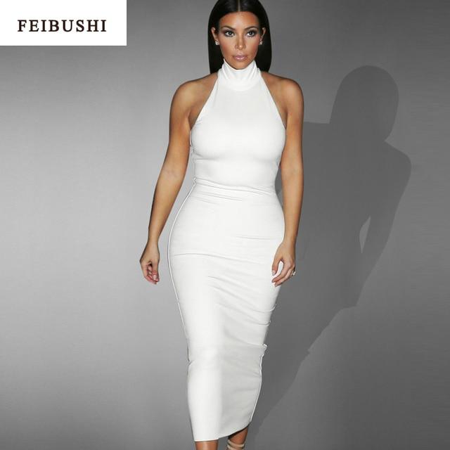 FEIBUSHI Womens Casual Elegant Solid White Sleeveless Turtleneck ...