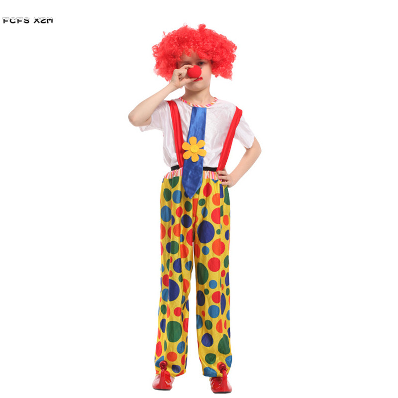 Unisex Halloween droll Costume for Children Boys Circus Clown Cosplay Kids Joker Role play Carnival Purim stage play party dress