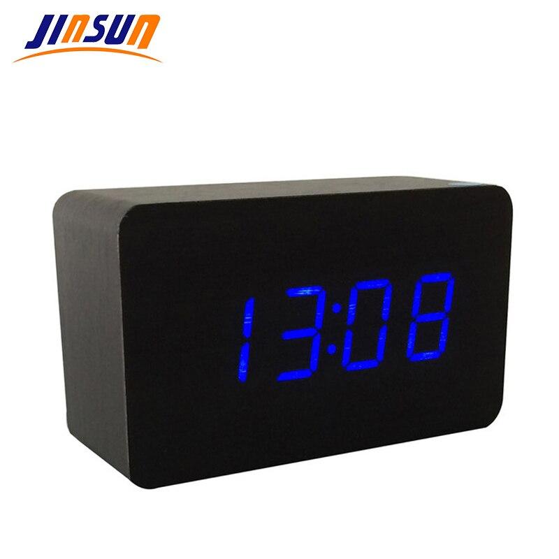 JINSUN Modern sensor Wood Clock home decor LED display Bamboo Clock digital alarm Clock Show Time Sounds Control Wekker KSW102