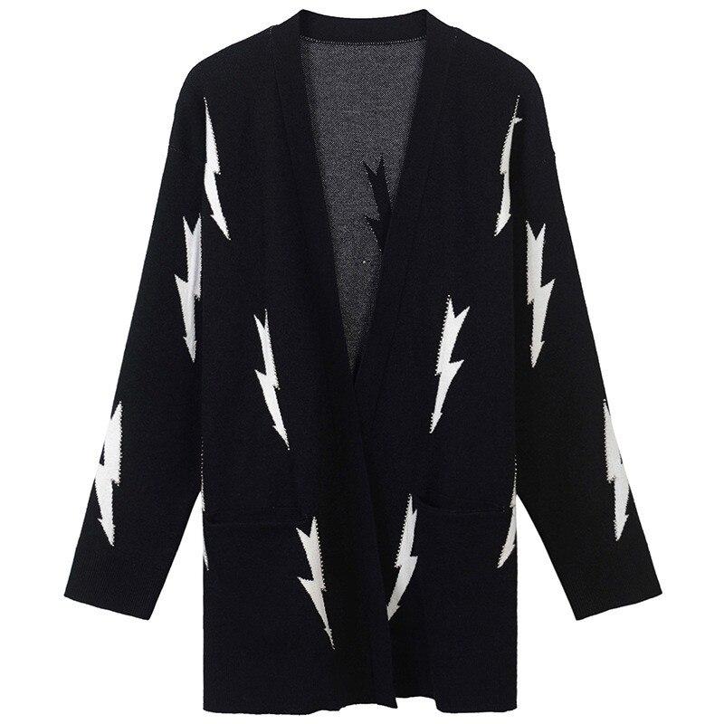 SRUILEE Lâche Foudre Jacquard Perles Manteau 2018 Nouveau Automne Hiver Manteau Femmes Cardigans En Tricot Top Femelle Jacket Tendance Piste