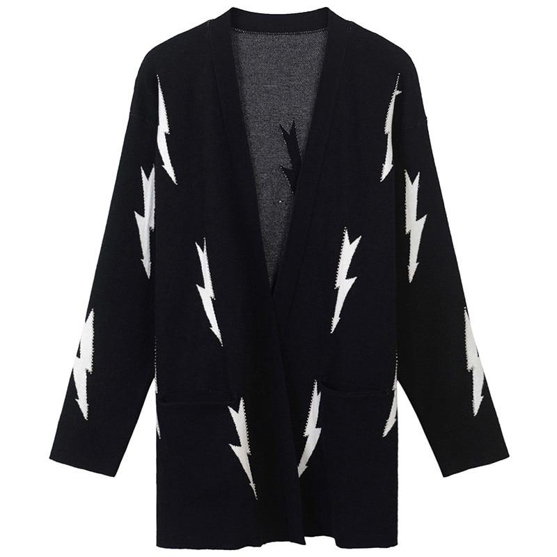 SRUILEE Loose Lightning Jacquard Beading Coat 2018 New Autumn Winter Coat Women Cardigans Knit Top Female Jacket Oversize Runway