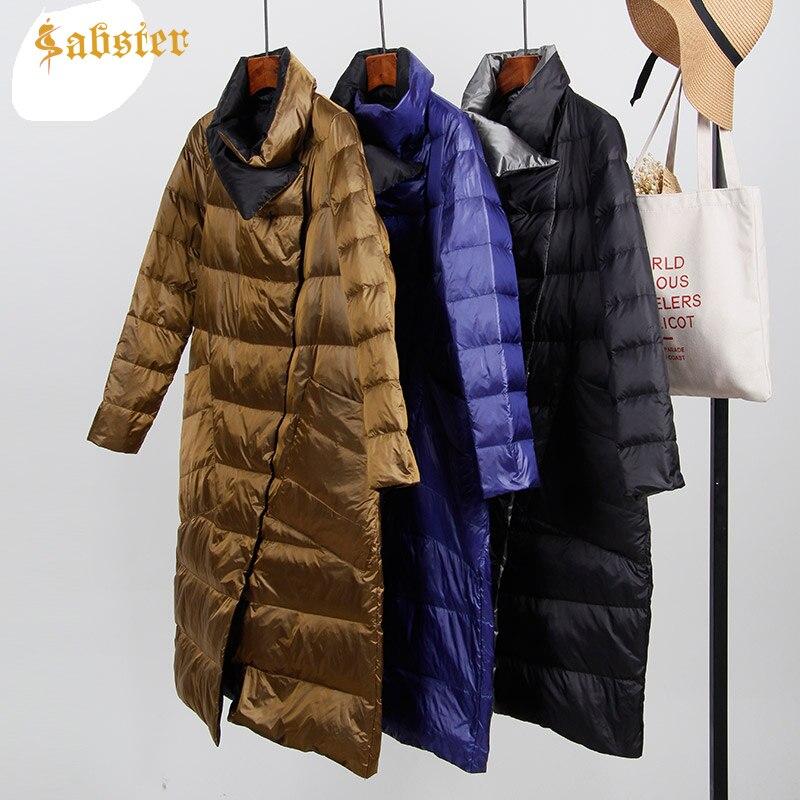 2018 Winter Hot sale White Duck Down Ultra Light Jacket Long Warm Double Sided Slim Coat Parkas Jacket kz293