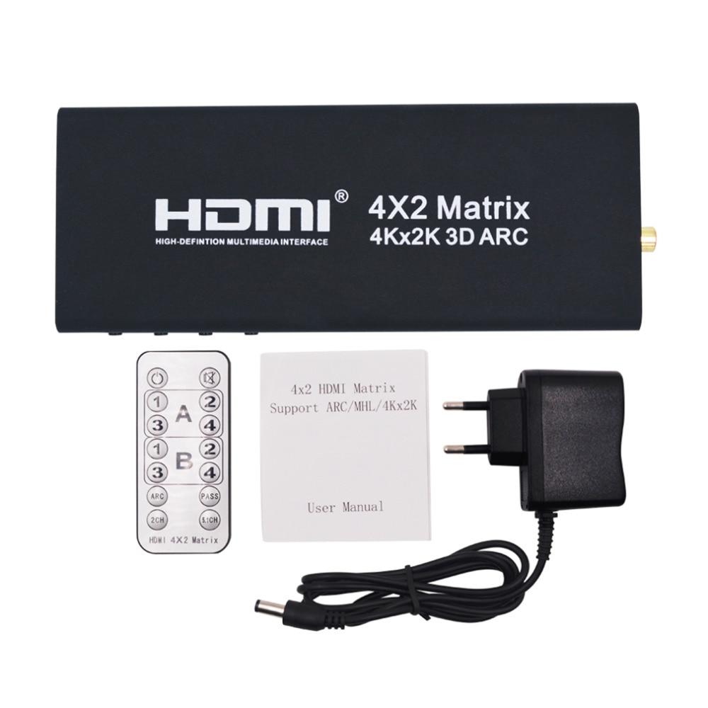Prix pour Hot New 4x2 HDMI Matrice Commutateur HDMI Switcher HDMI Splitter Soutien ARC 4 K x 2 K Splitter Hub Box Pour PS3 Pour Xbox 360 UE Plug Type