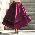 Ethnic Original Deisgn Skirts Three Layers Women A Line Big Bottom Ankle-Length Long Skirts Female Embroidery Black Lace Saias