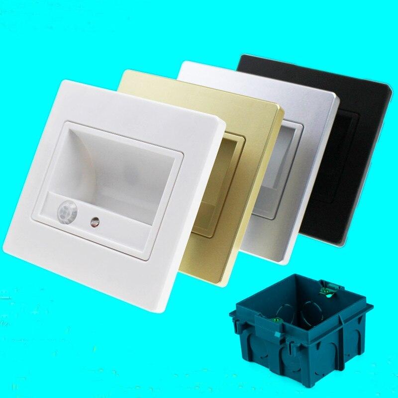Led stair licht sensor + PIR bewegungsmelder led infrarot menschlichen körper induktionslampe einbau schritte leiter wandleuchte 86 box