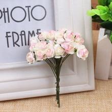 12 шт./лот Мини Бумага роза искусственные цветы для дня рождения Свадебная вечеринка DIY Скрапбукинг цветок мяч дешевые цветы