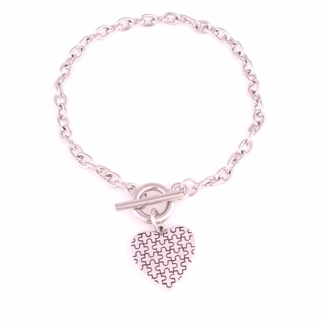 Drop Shipping Antique Silver Plated Autism Awareness Jewelry Zinc Alloy Autism Hope Heart Puzzle Piece Toggle