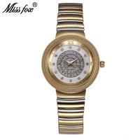 Miss Fox Women Gold Watch Fashion Brand Rhinestone Japan Movement Small Metal Watch Bracelets Carnaval Imported China Kol Saati