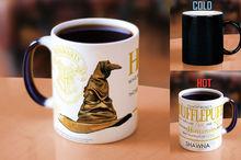 Hogwarts tassen Kundenspezifische NAME Sortierung Hut Hufflepuff tassen Slytherin becher Gryffindor becher Ravenclaw wärme zeigen kaffee