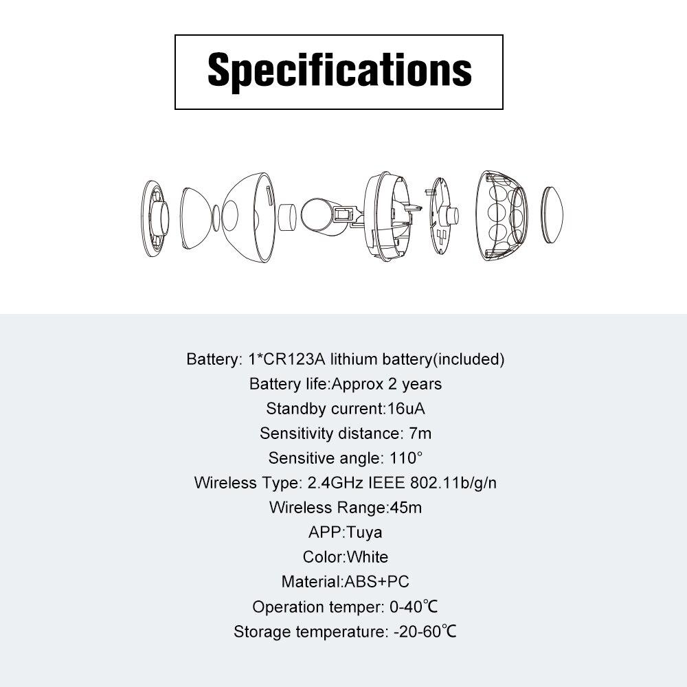 WiFi PIR датчик движения Детектор с магнитным кронштейном супер мини форма белый для домашней сигнализации